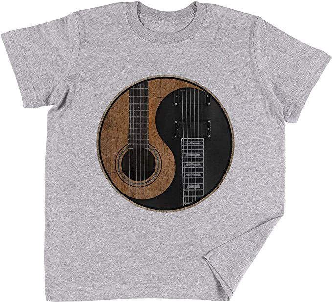 Vendax Yin Yang Guitarra Niños Chicos Chicas Unisexo Camiseta Gris ...