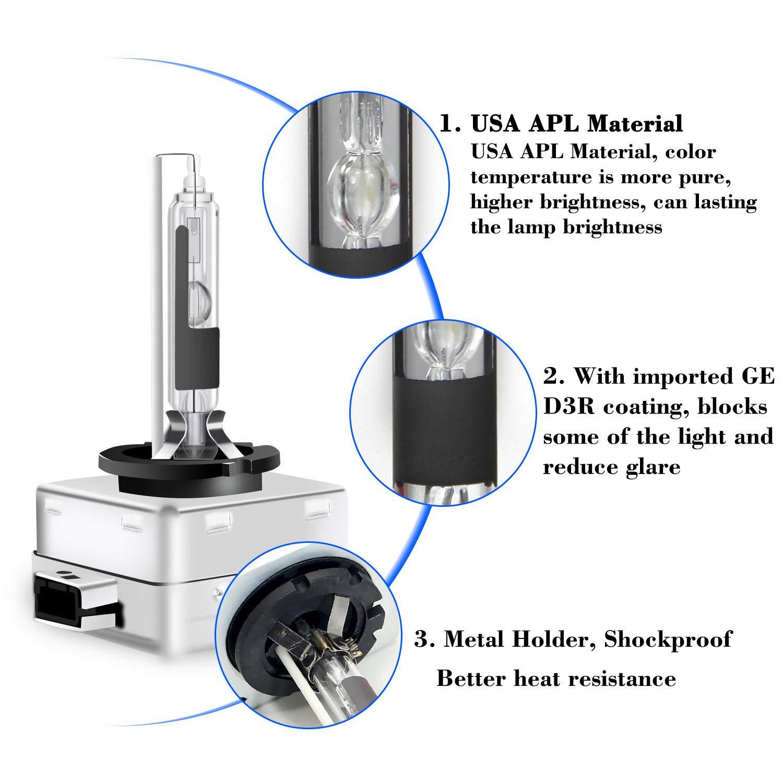 Win Power 35W D4C D4S HID Allo Xeno Bianco Lampada di Ricambio 4300K 6000K 8000K per 12V Auto Veicolo Fari,2Pcs