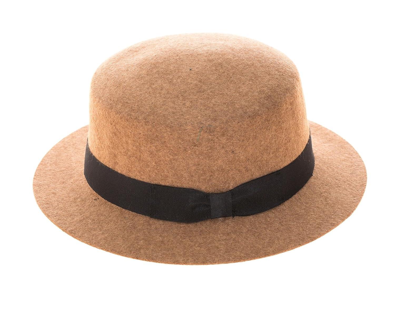 Flat Top Pork Pie Cap with Grosgrain Hat Band Vintage Style Wool Felt Boater Hat