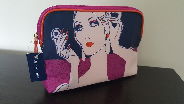 Estee Lauder Iconic azul marino y naranja Make Up/bolsa de cosméticos: Amazon.es: Belleza