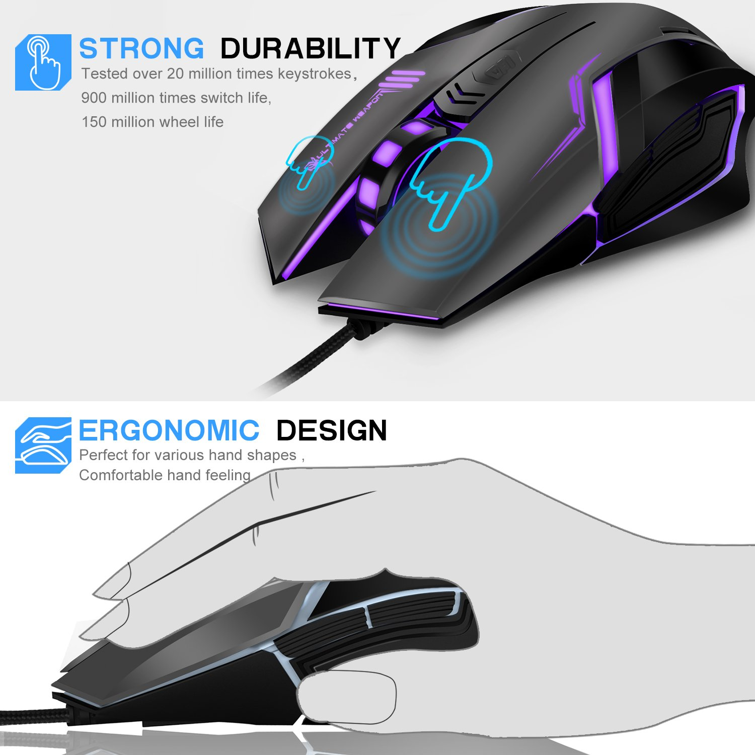 Gaming Mouse, LDesign 3200DPI Wired Gamer Mice ACC Optical Ergonomic with 4 Adjustable DPI Switch, 7-Color Breathing Light, High Accuracy Computer Mice Plug and Play (Grey/Black)