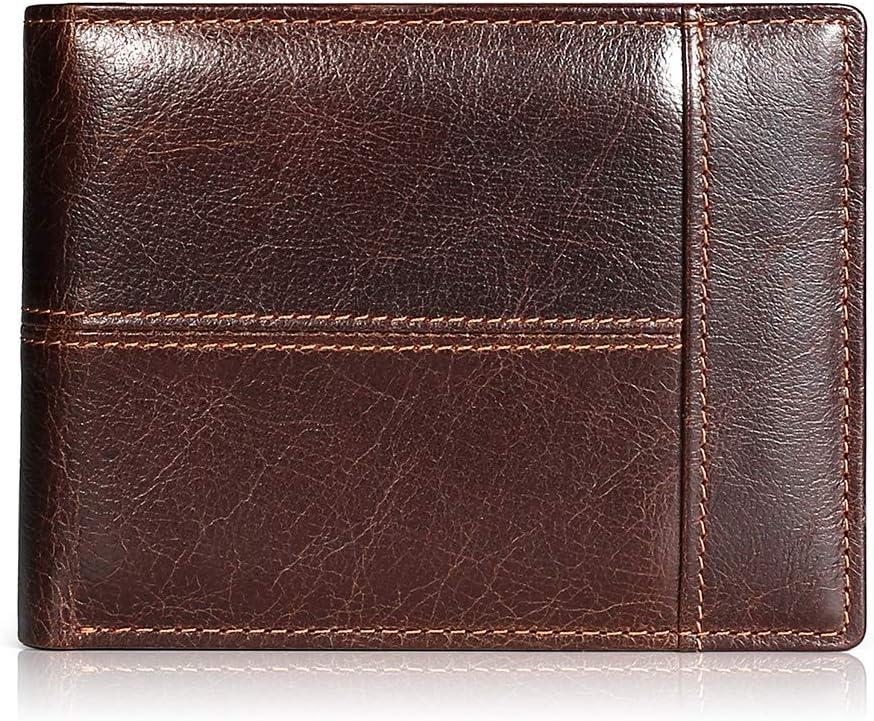 Cartera Hombre Cuero Cartera de Piel Monedero Tarjetro Billeteras RFID Bloqueo para 16 Tarjetas de Crédito con ID Ventana Slim Bifold Gran Capacidad Bolsillo con Cremallera (marrón)