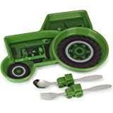 KidsFunwares Tractor Me Time Meal Set, Portion Control Divided Plate with Fork and Spoon for Kids