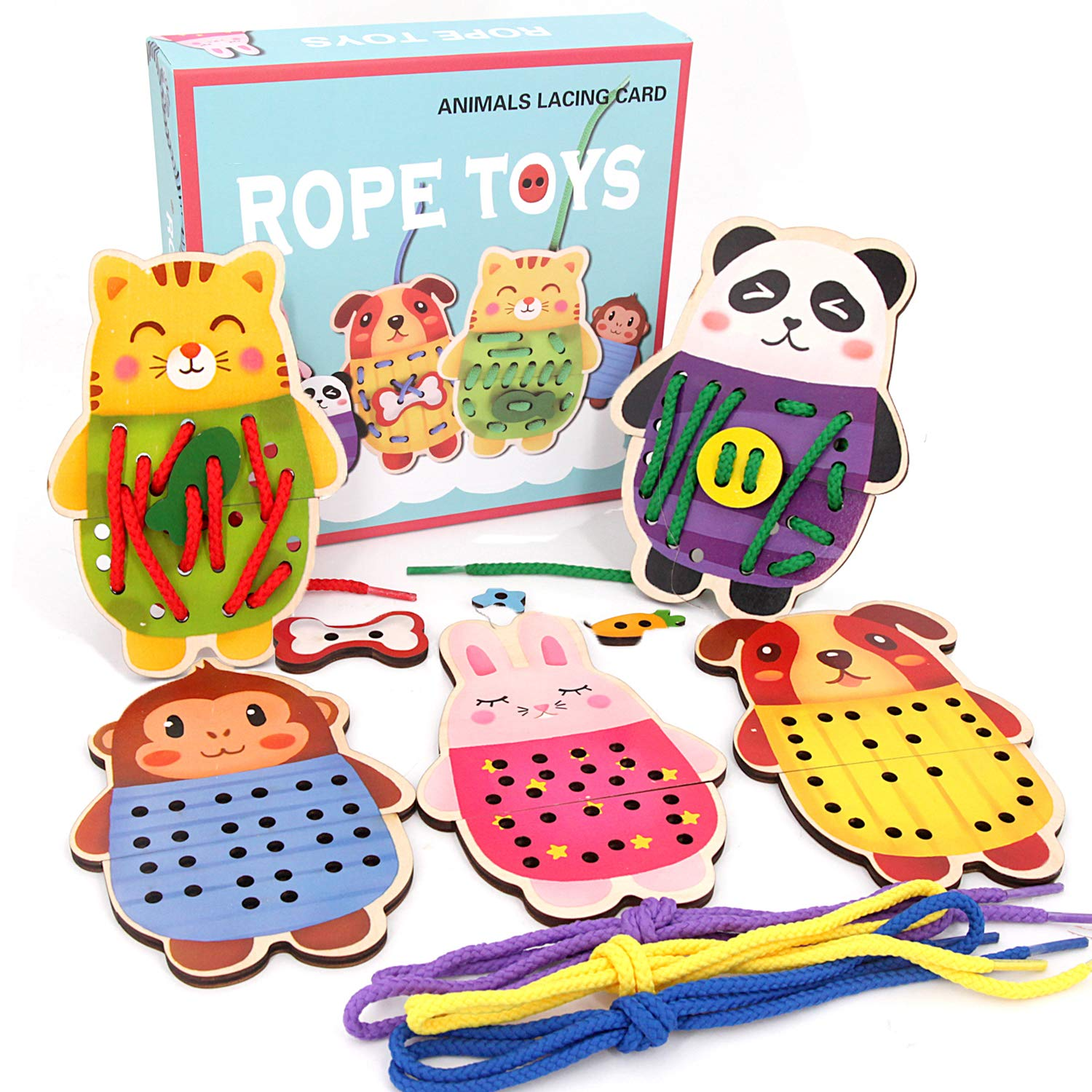 Sealive Wooden Animals Lacing Cards for Toddlers, 5 Wooden Panels and 5 Matching Laces, Zoo Animal Lace and Trace Activity Set, Montessori Toys Sewing Cards for Kids