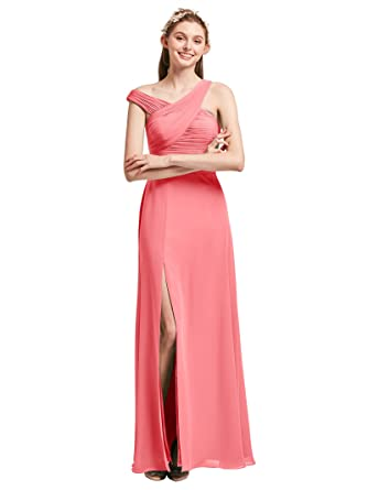 AWEI Women Sleeveless Bridesmaid Dress Long Chiffon Formal Gown Pleated Prom Party Dress 2018, Coral