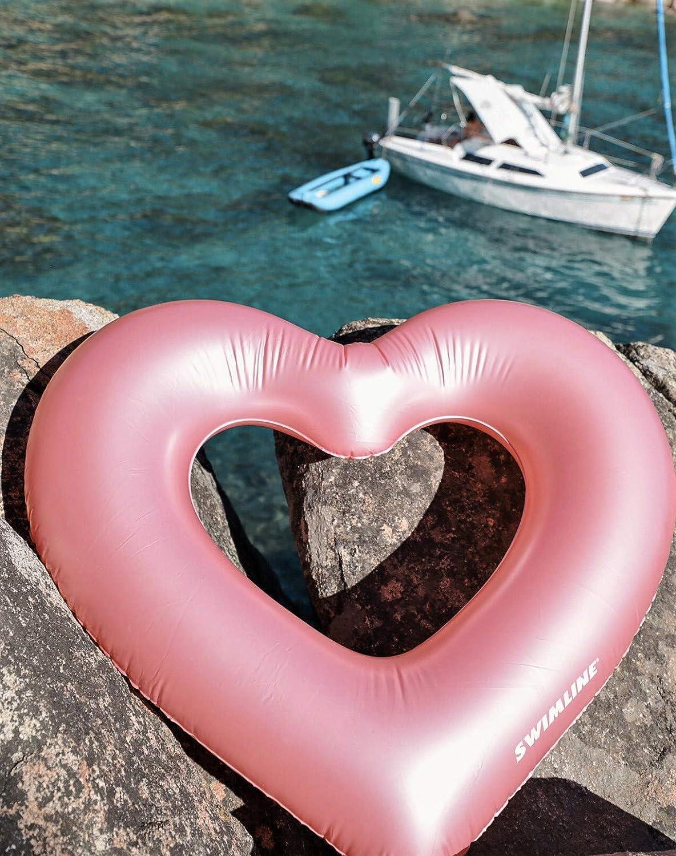 Swimline Inflatable Metallic Heart Pool Ring