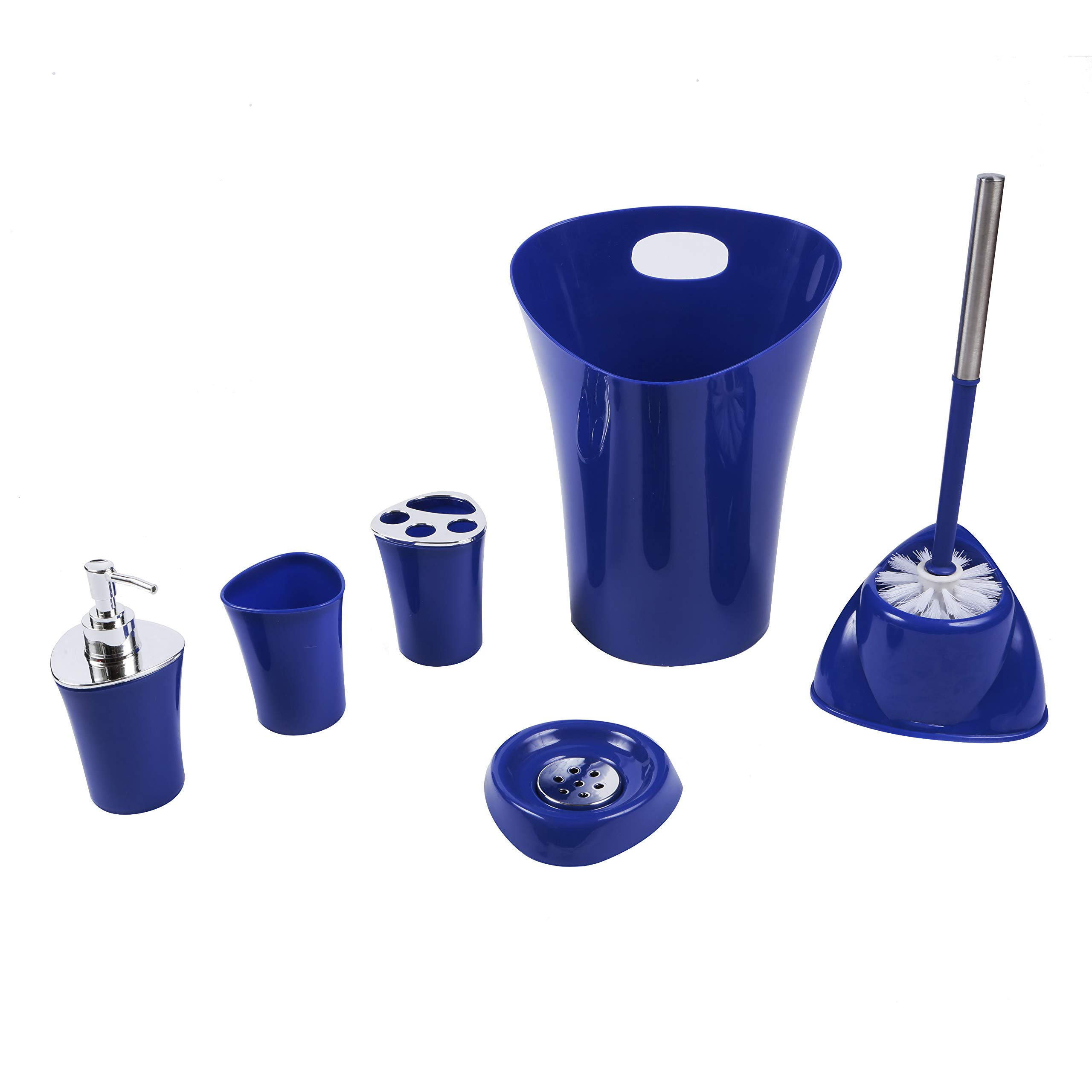 Zuvo: Bathroom Accessories Set - 6 Pieces, Waste Bin, Soap Dish, Lotion Dispenser, Toothbrush Holder, Rinse Cup/Tumbler, Toilet Brush (Blue)