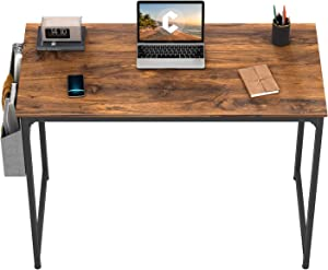 "CubiCubi Study Computer Desk 32"" Home Office Writing Small Desk, Modern Simple Style PC Table, Black Metal Frame, Dark Rustic…"
