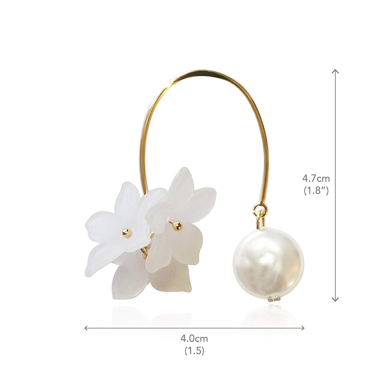 Gilli.Shop for Women Girls Fresh-Water Pearl Floral Open Hoop Earrings Fashion Jewelry