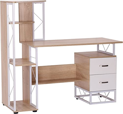 HomCom 52 Multi-Level Steel Wood Computer Workstation Desk with Shelves and Drawers, White Oak