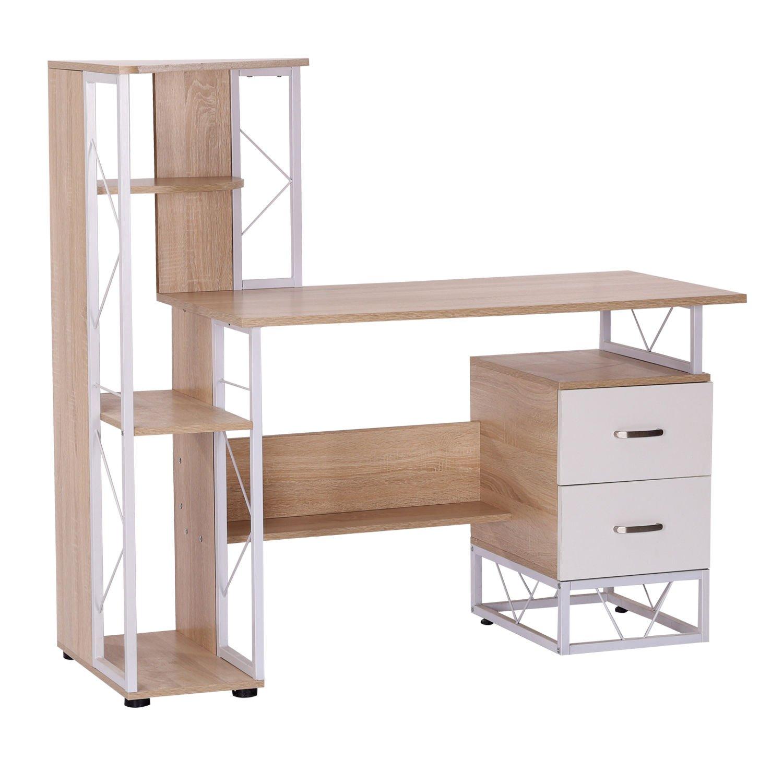 HomCom 52'' Multi-Level Steel Wood Computer Workstation Desk with Shelves and Drawers - White/Oak by HOMCOM
