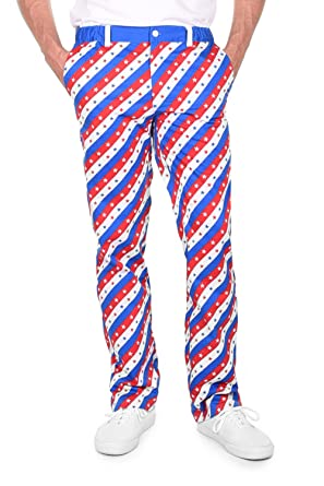 28fbed4e0994 Tipsy Elves Men s Red White and Blue Patriotic USA Pants Bottoms (Small)