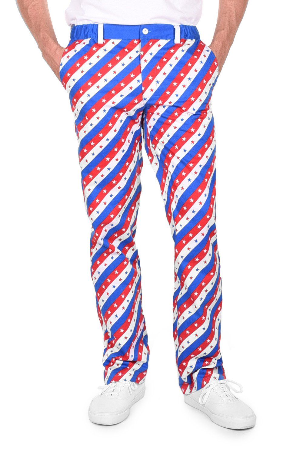 Tipsy Elves Men's Red White and Blue Patriotic USA Pants Bottoms (X-Large)