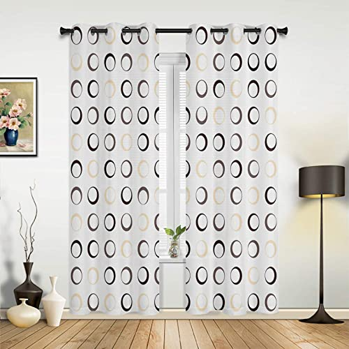 HERBED Bedroom Blackout Curtains Geometry Simple Pattern Black and White Thermal Insulated Room Darkening Curtains