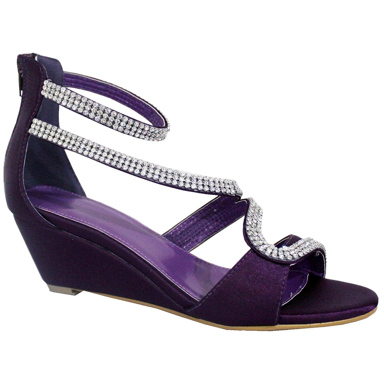 Ladies Low Heel Peep Toe Diamonte Shoes Amazon