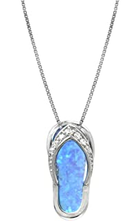 Amazon sterling silver created blue opal flip flop pendant with sterling silver flip flop cz accented necklace pendant with simulated blue opal and 18 box aloadofball Images