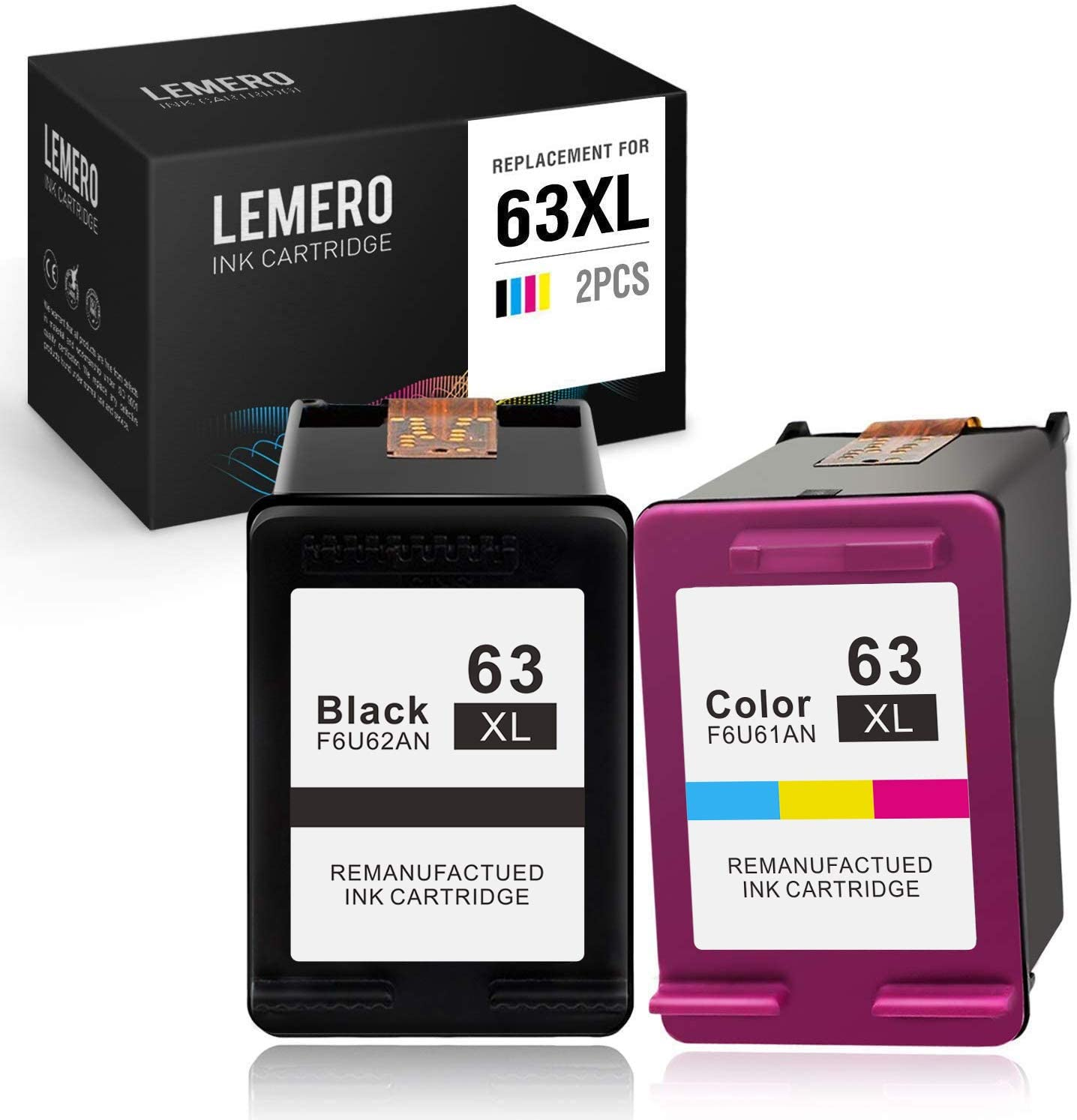 Lemero Remanufactured Ink Cartridge Replacement for HP 63 63XL (1 Black & 1 Tri-Color) for Officejet 5255 5258 4650 3830 4652 Envy 4520 4512 Deskjet 3630 1112