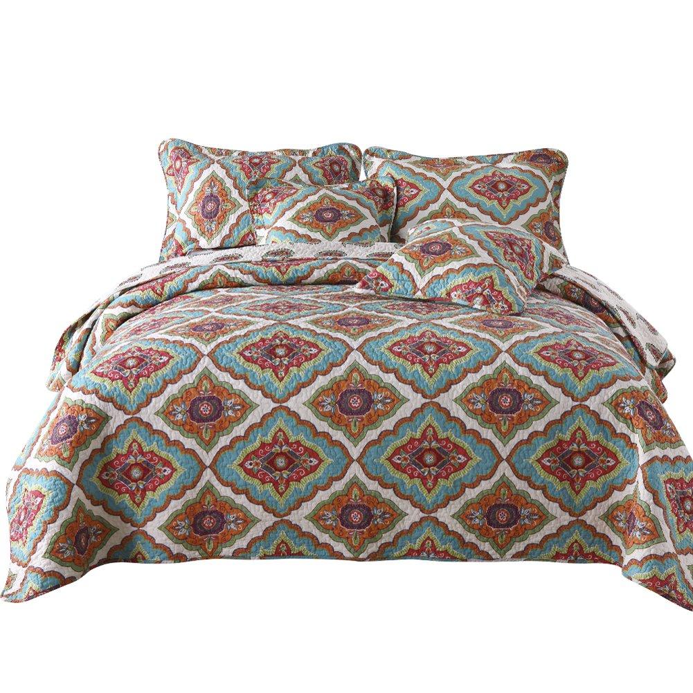 NEWLAKE Cotton Bedspread Quilt Sets-Reversible Patchwork Coverlet Set, Continuous Floral Pattern, Queen Size