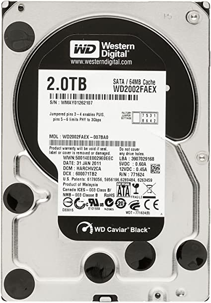 "Western Digital WD Black WD2002FAEX HDD 2TB w// 64MB Cache 6Gb//s 7200rpm 3.5/"""