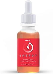 Nutriair Natural Energy Orange Flavored Supplement - No Added Caffeine Herbal Tincture, Ashwagandha Liquid Blend & B12 Drops - Help to Stay Awake, Alert, and Enegized (60 ml)