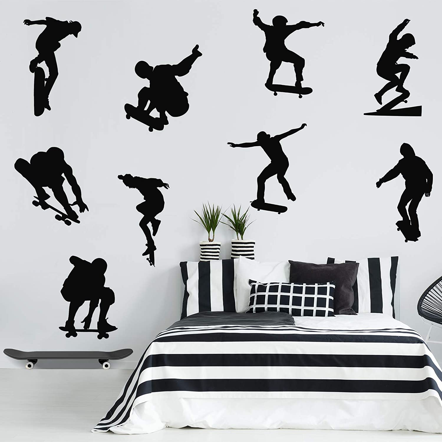9 Pieces Playing Skateboards Wall Decal Nursery Playroom Decoration Skateboard Sports Murals PVC Home Bedroom Wall Sticker Decal for Boys Teen Baby Living Room