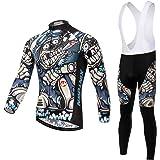 Skysper Maillot de Cyclisme Set Maillot de Manches Longues + Pantalons Homme Printemps/Automne/Hiver Cyclisme Vêtements Respirant Séchage Rapide