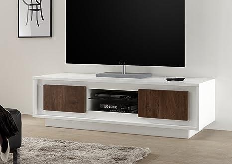 Mobile Tv Moderno Bianco : Arredocasagmb mobile porta tv moderno bianco opaco ante effeto