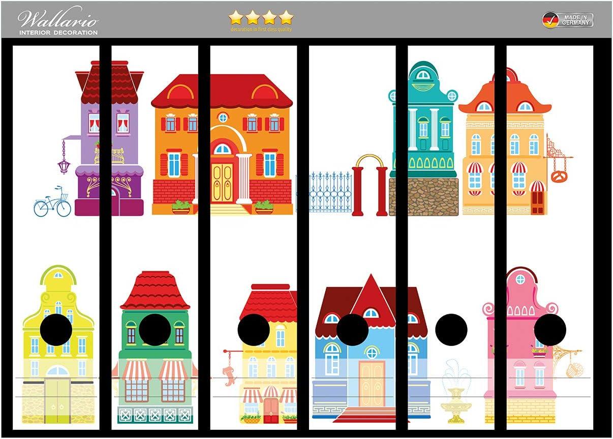 Wallario Ordnerr/ücken Sticker Bunte H/äuser in Einer Stadt Gr/ö/ße 36 x 30 cm Comic Stil in Premiumqualit/ät passend f/ür 6 breite Ordnerr/ücken