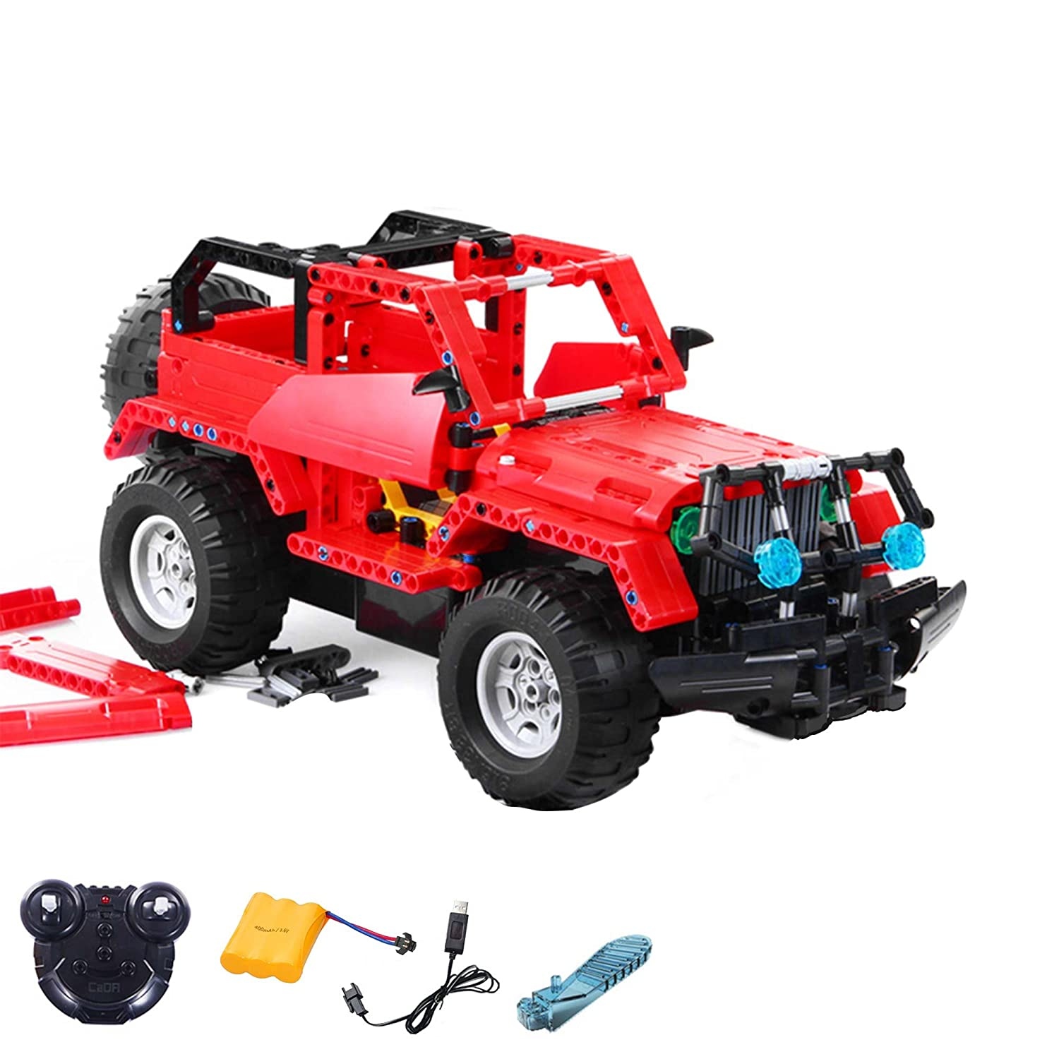 2.4GHz RC plug-in kit DIY remote-controlled 2in1 SUV Truck from building blocks DIY Build with 2.4GHz remote control, block building vehicle, car, car, complete set Incl. Battery and charger HSP HIMOTO