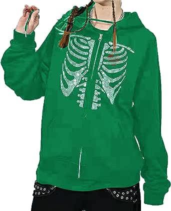 Vrouwen Y2k Skelet Strass Print Trekkoord Hooded Pullover Sweatshirt Casual Lange Mouwen Hooded Jas 90S Vintage Rits Hoodie Jas