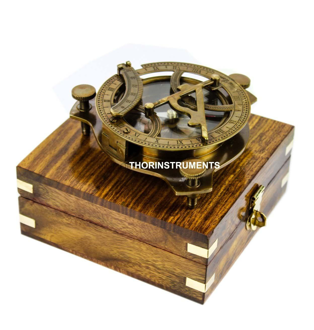 THORINSTRUMENTS (with device) 5'' Triangular Beautiful Nautical Sundial Compass With Level Meter Encased In Genuine Rosewood Anchor Inlaid Case Maritime Decor Gifts