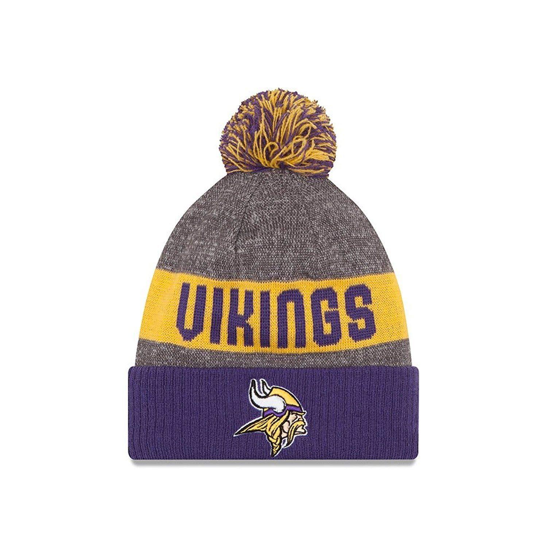feca4f72b46 Amazon.com   Minnesota Vikings 2016 Sport Pom Knit Hat On-Field Logo Block  12258   Sports   Outdoors