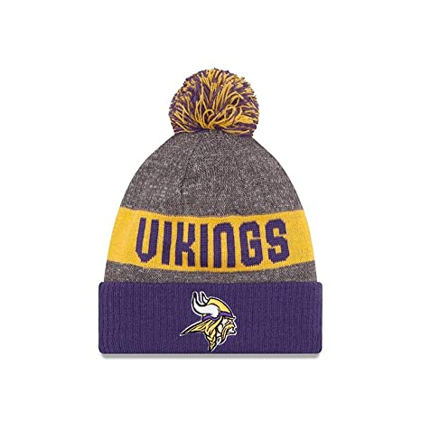 644a5d00 New Era Knit Minnesota Vikings Purple On Field Sideline Sport Knit Winter  Stocking Beanie Pom Hat Cap 2015