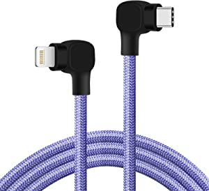USB C to Lightning Cable 6ft [Apple MFi Certified] Fast Charging 90 Degree iPhone Charger to Type C Cable Compatible with iPhone 12 Pro Max/11Pro/XS/XR/X/8 Plus (Purple)