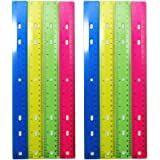 Luxxii (8 Pack) 12 inch Plastic Color Ruler Transparent Straight Ruler Math Rulers