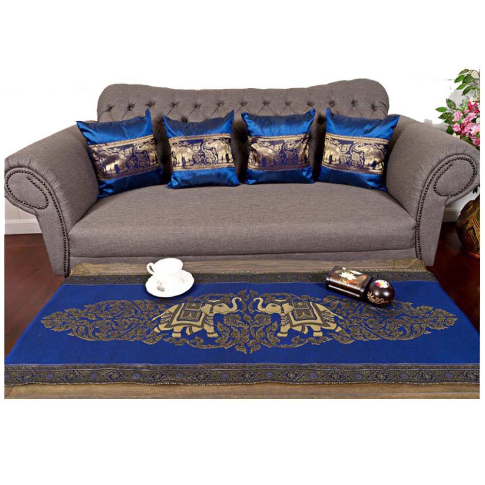 Sofa Set 1 Table runner + 4 Cushion Shiny Blue King Elephants Beautiful Thai Silk Blend Table/bed Runner Size : 20 Inches X 2 M. by J.J.