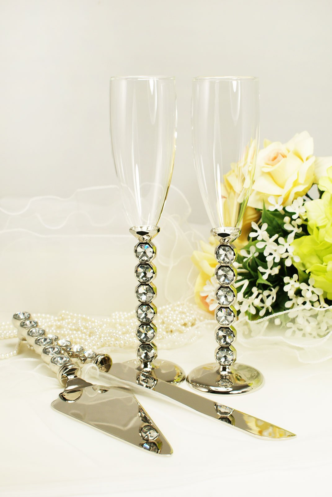 Silver Wedding Toasting Glass Knife and Wedding Cake Server Set Personalized Engraved
