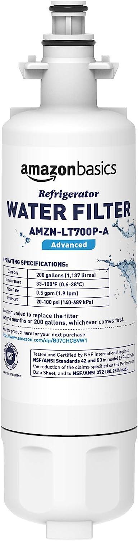 AmazonBasics Replacement LG LT700P Refrigerator Water Filter Cartridge - Advanced Filtration