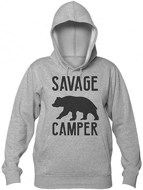 Savage Camper Wild Furry Bear Sudadera con Capucha para Mujer Womens Hooded Sweatshirt Small