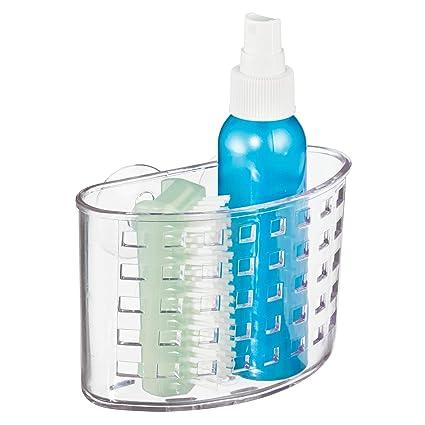 long panier de douche ventouse en plastique transparent InterDesign Basic etagere de douche sans percer