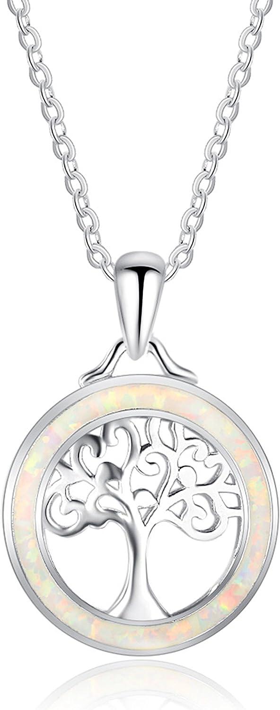 KristLand - Piedra de Luna Arbol de Vida S925 Plata Esterlina Collar con Opal Blaco Dije Pendant Novia/Esposa/Hija/Caja de Regalo