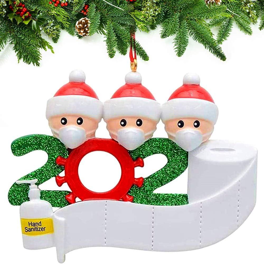 Christmas Personalized Family Name Ornament Kit,Christmas Tree Decoration Pendant,2020 Upgrade Hanging Ornament Set,Drop,Decorative Kit of 1-7 Family Name,Xmas Home Decor Gift (3 Family, 1 pcs)