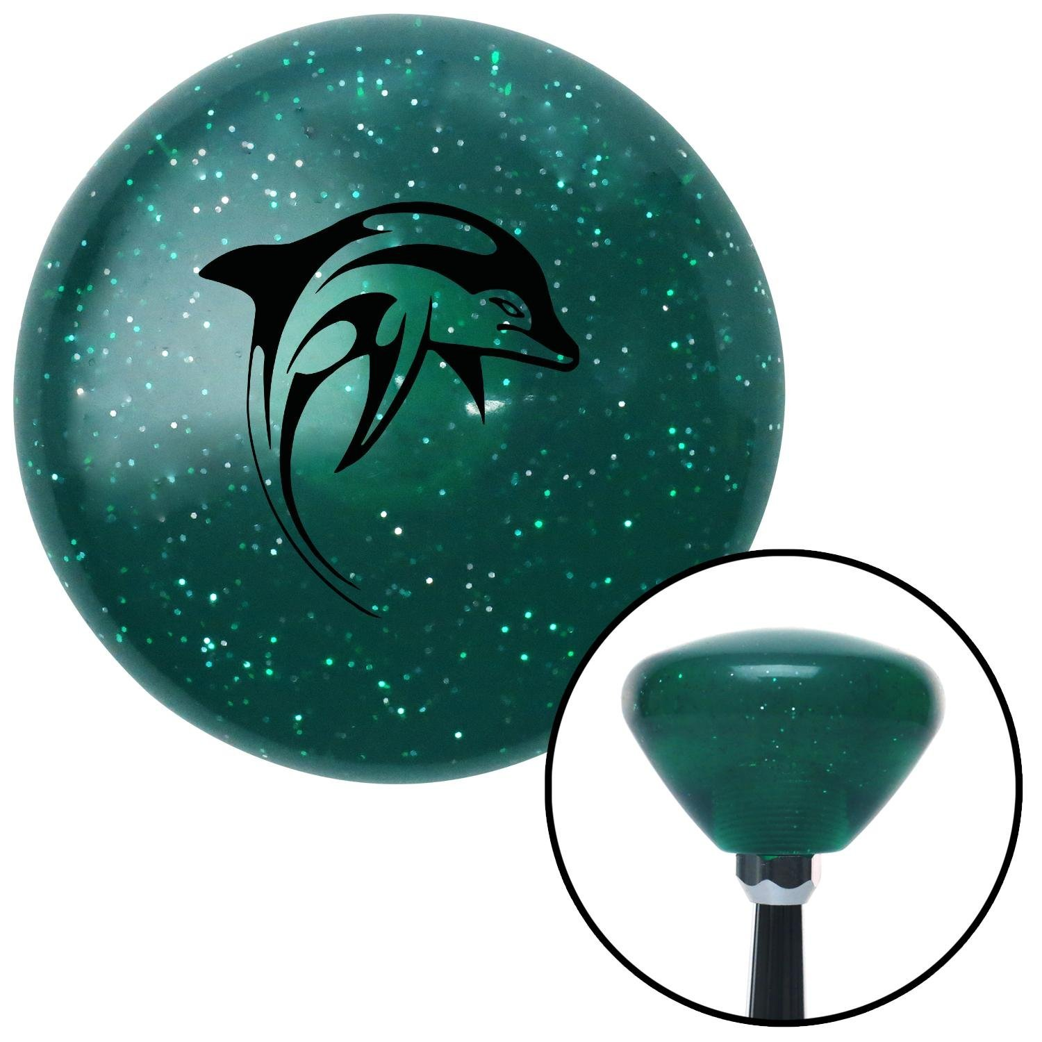 American Shifter 206779 Green Retro Metal Flake Shift Knob with M16 x 1.5 Insert Black Marine Dolphin #2