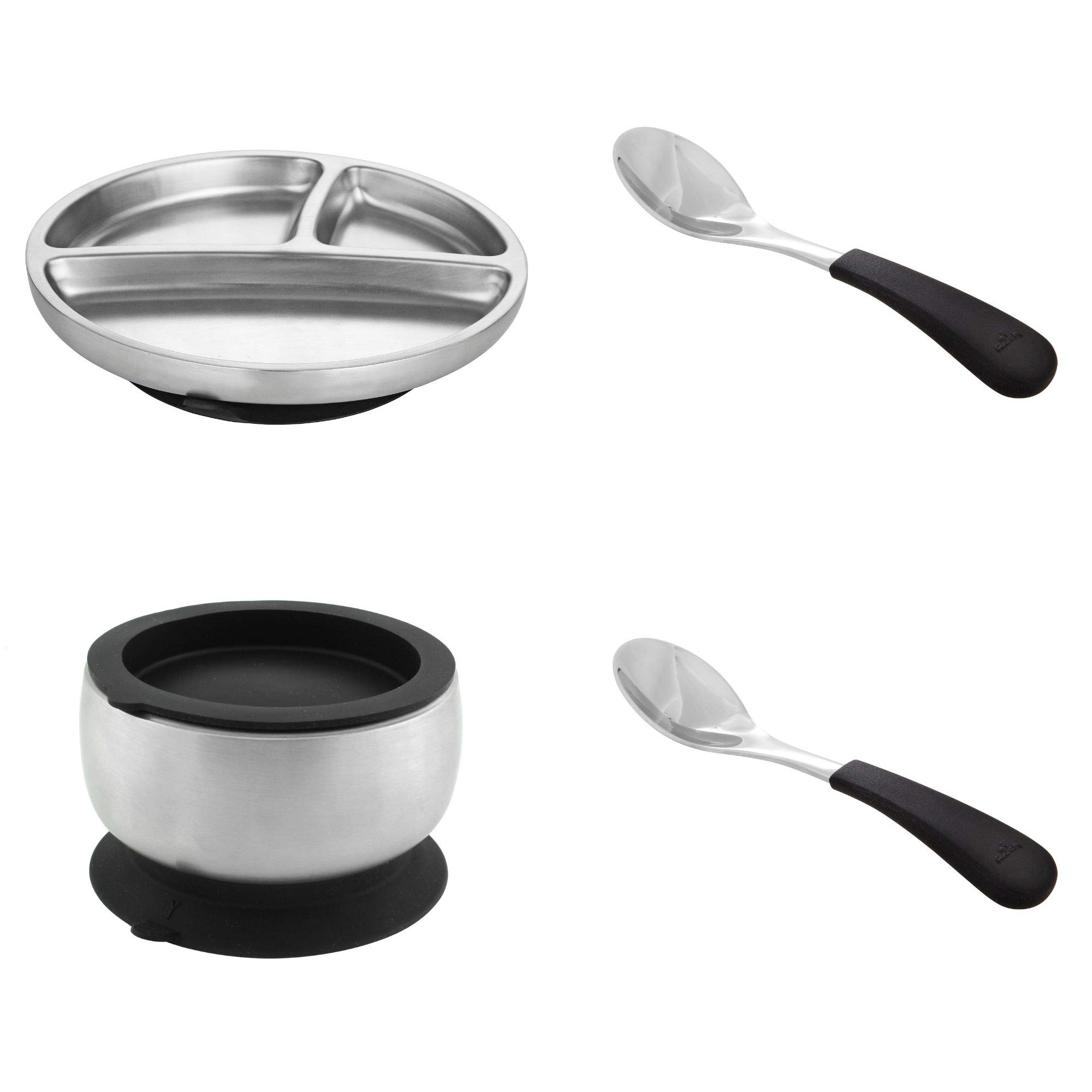 Avanchy Stainless Steel Baby, Toddler Feeding Divided Plate + Bowl + 2 Spoons Giftset. Infant, Kid or Child Gift. 18/8, BPA Free, BPS Free, Lead Free and Phthalate Free. Black