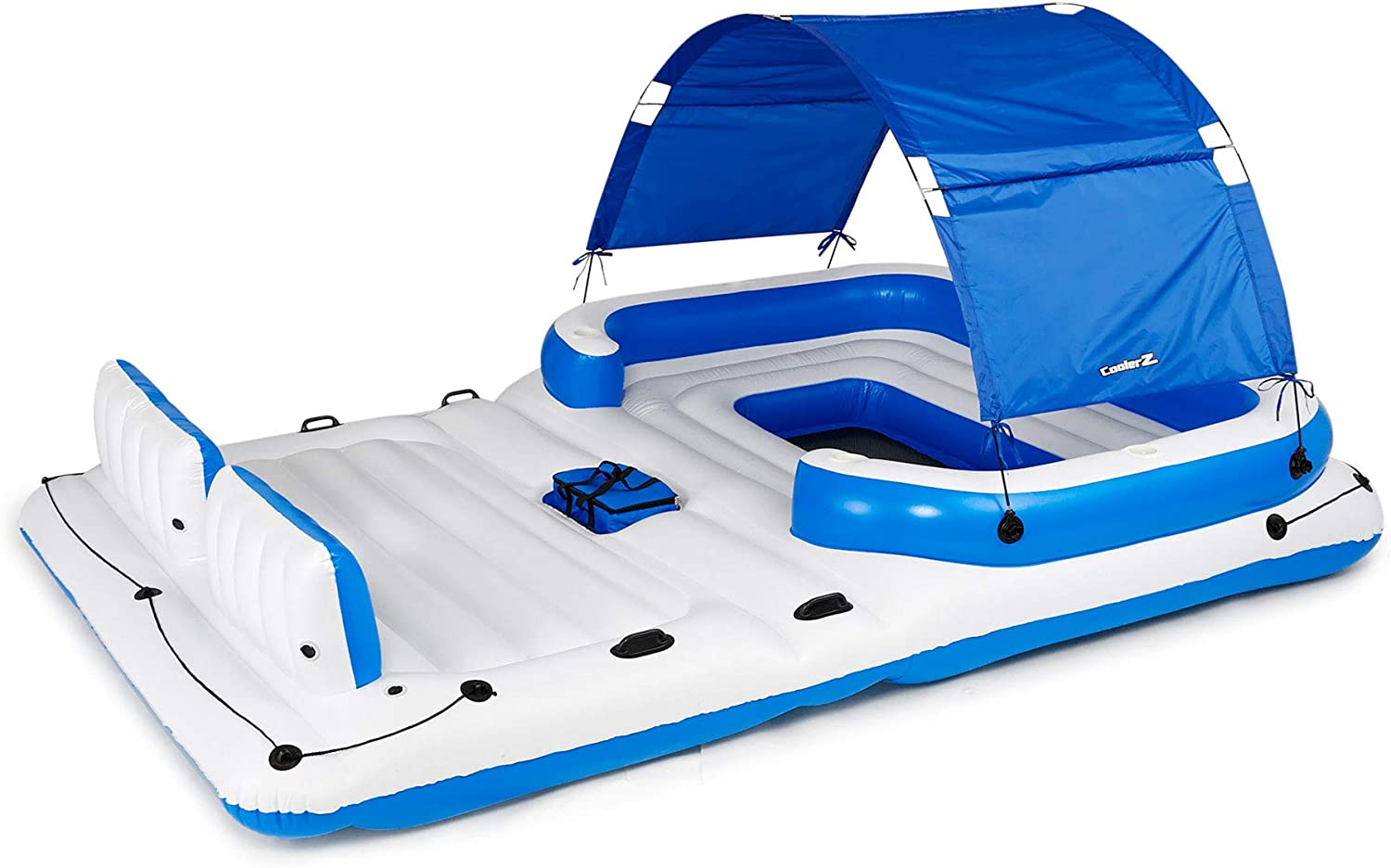 B0009V89NK Bestway CoolerZ Tropical Breeze Floating Island Raft | Giant Inflatable Pool Float For Adults | Includes Canopy, Cupholders, & Cooler Bag | Lounge Fitsup to 6 People | Great For Pool, Lake, River, OC 71VllCRJOnL.SL1500_