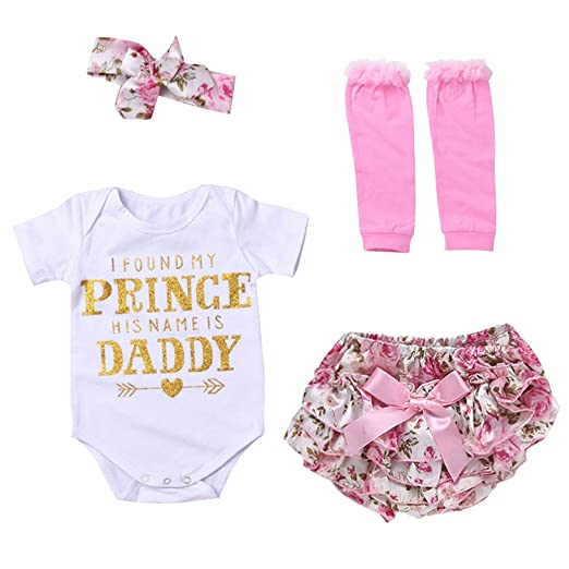 2e608cf69 Amazon.com: Fathers Day Baby Girl Outfit Short Sleeve Romper Floral Shorts  Sets + Leg Warmers + Headband: Clothing