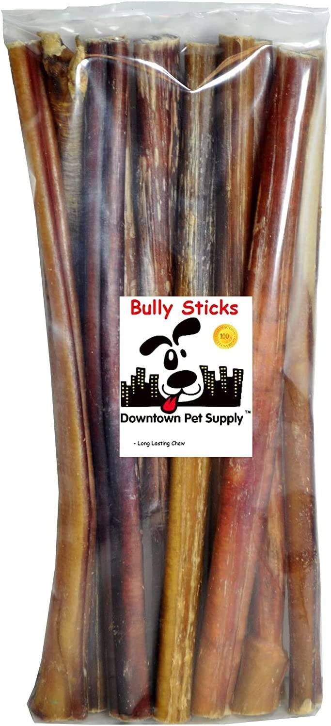 Downtown Pet Supply Dog Bully Sticks and Healthy Dental Chews Treats - All Natural Beef, for Small Medium and Large Dogs (12
