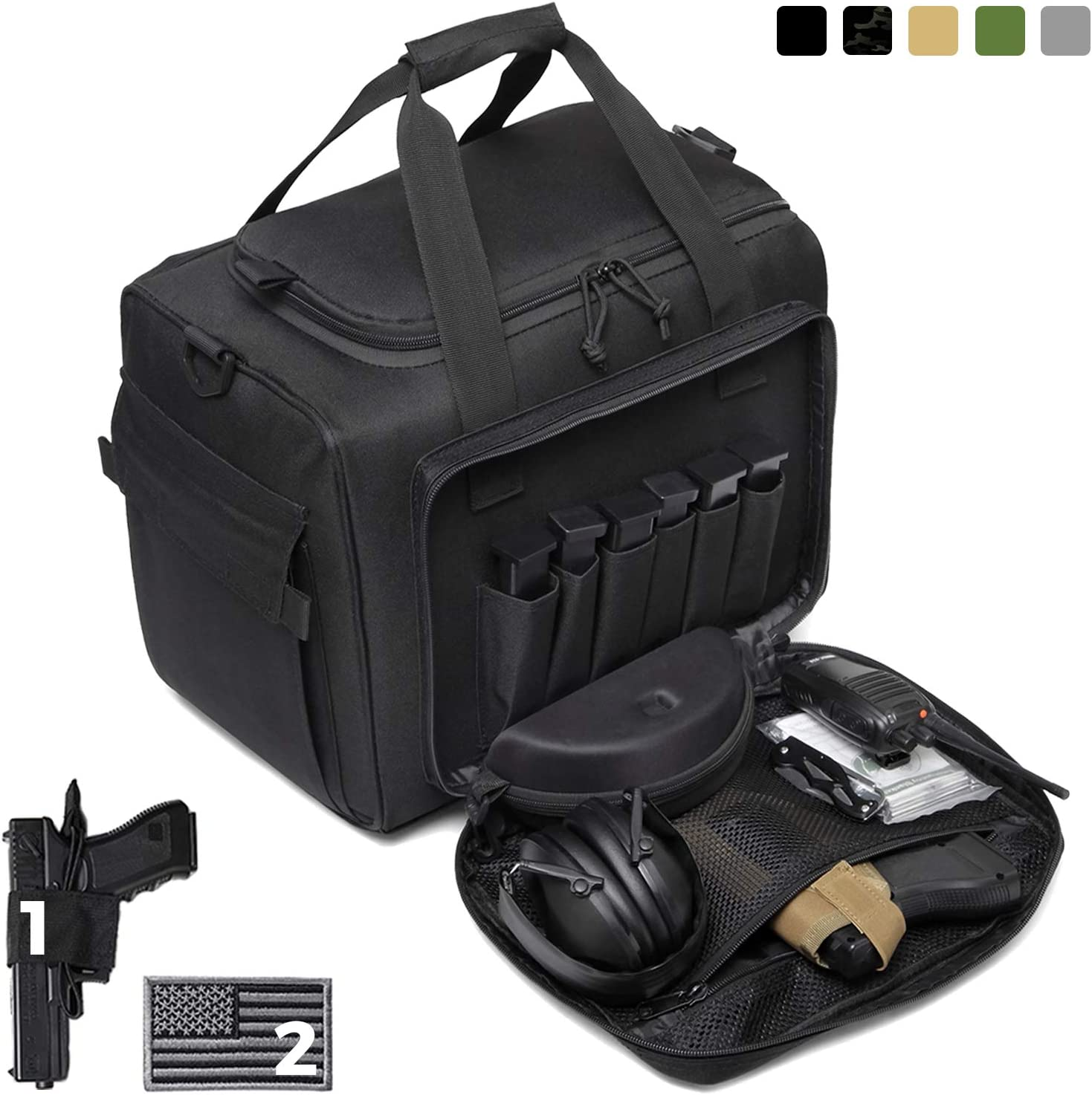 DBTAC Gun Range Bag Large | Tactical Pistol Shooting Range Duffle Bag for 4+ Handguns Range Trip - 2 in 1 Camera Duffel Bag with 2X Removable Velcro Divider for DSLR