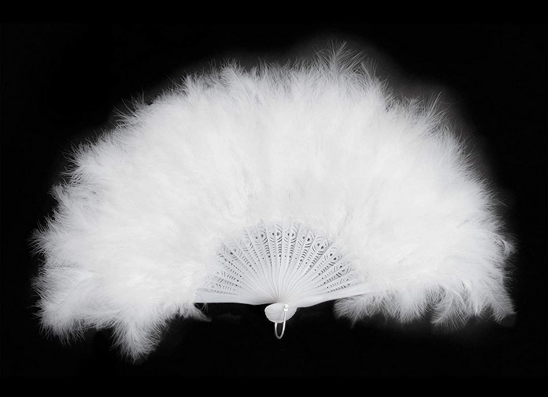 peque/ños monelli Abanico Plumas Blanco Burlesque Mujer para Carnaval