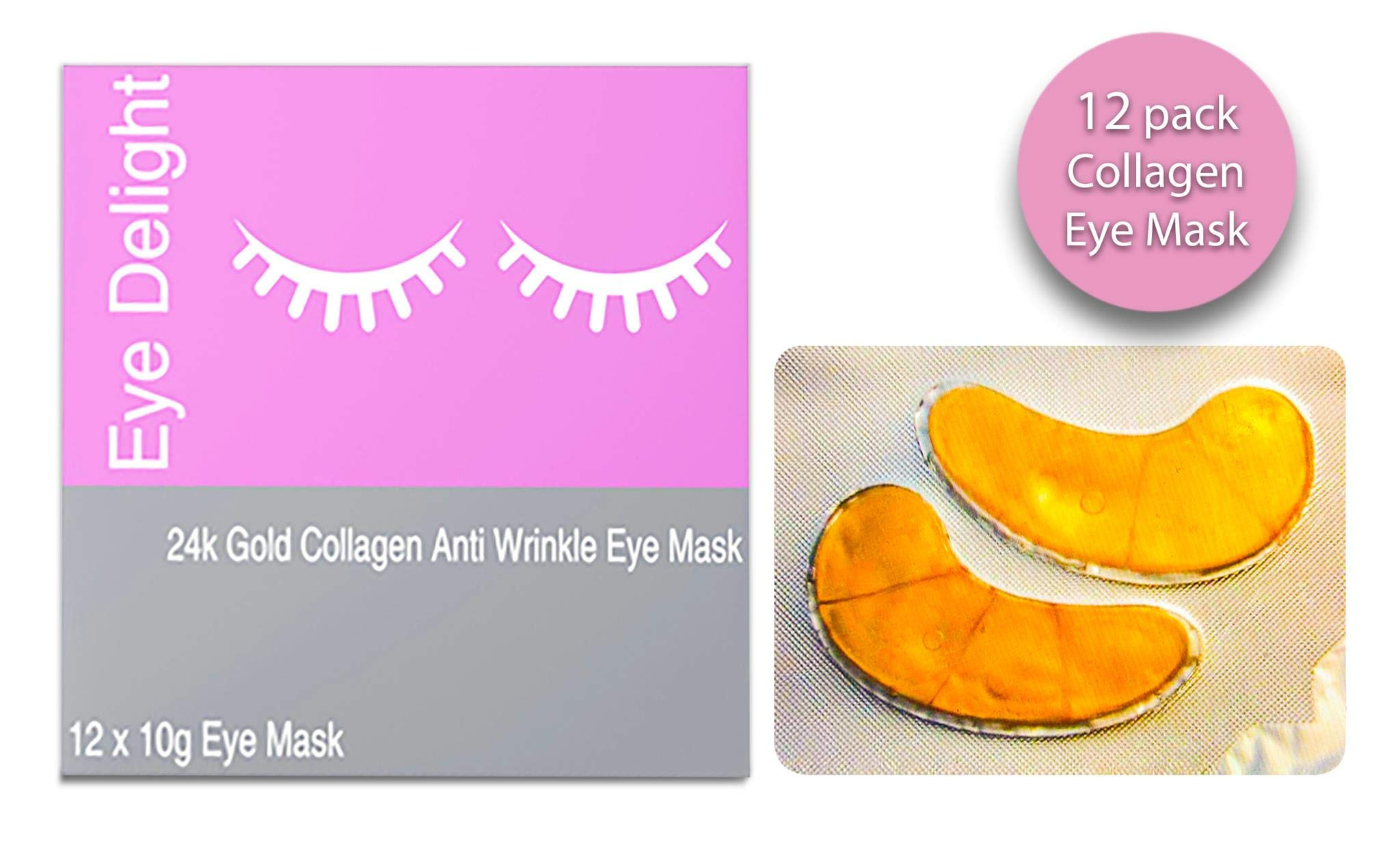 (12 Pairs) Luxury Collagen Eye Masks,Premium Anti Aging Moisturizing Depuffing With Hyaluronic Acid. For Fine Lines,Puffiness&Dark Circles,Cooling Soothe Pads Sheets Hydrating Under Eye Wrinkles